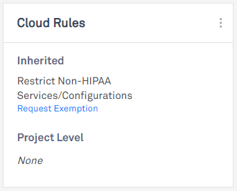 screen showing exemption request link on cloud rule