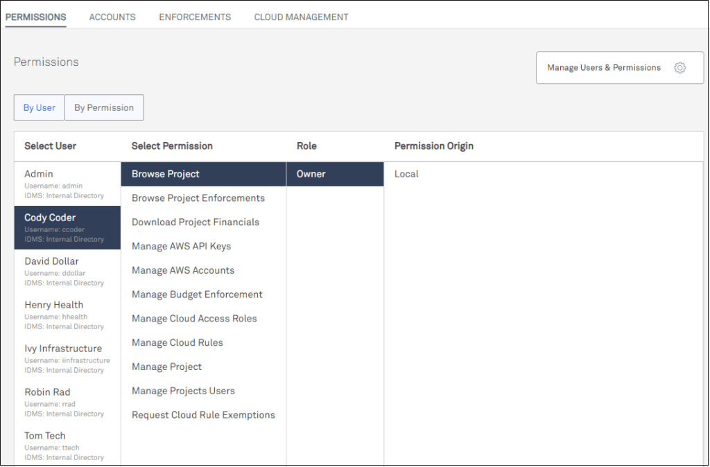 screen capture of users and permissions display