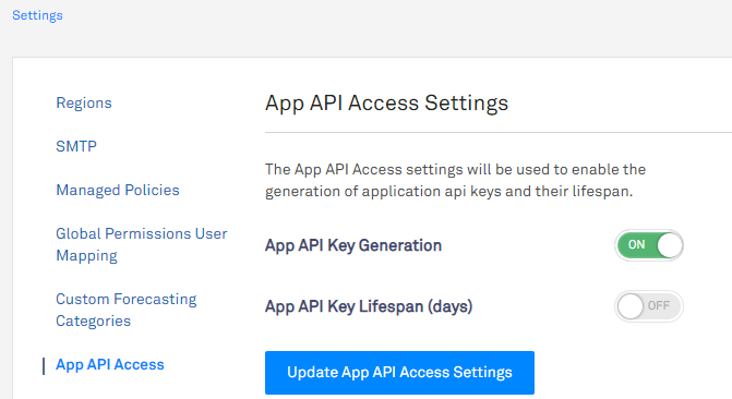 screen capture depicting how to enable API key generation