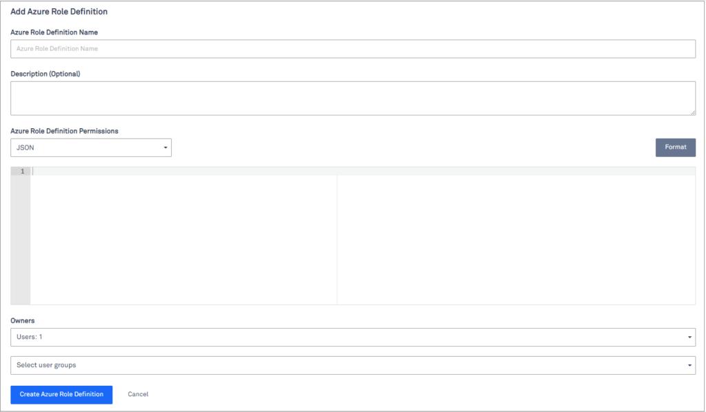 add Azure role definition window