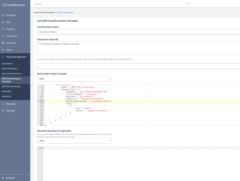 add a cloud formation template in cloudtamer