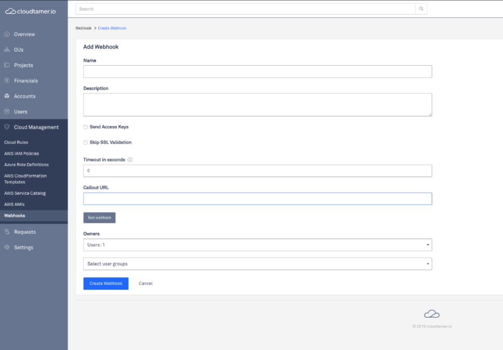 create webhook screen