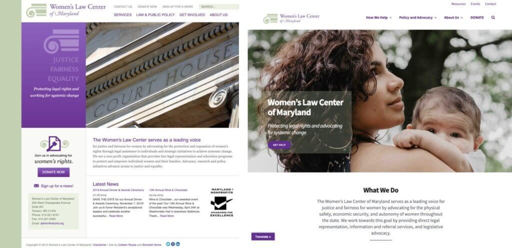 before and after view of the WLCMD website